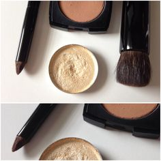 All different shapes and sizes. Takeda 10SRSS CSQU pencil brush (Canadian Squirrel hair)—customized by me. Chikuhodo Z-3 contour brush (Grey Squirrel hair). MAC Gold Dusk pressed pigment. Chanel Les Beiges No. 40 (sample size). #chikuhodo #takeda #takedabrush #takedabrushinc #10SRSSCSQU #Z3 #chanel #chanellesbeiges #MAC #maccosmetics #golddusk #pigment #eyeshadow #contour #japanesemakeupbrushes #kumano #kumanofude #kumanojapan #greysquirrel #canadiansquirrel