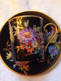 Fabulous Limoges Hand Painted Artist Signed Florals On Black Demitasse Cup…