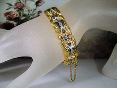 1970s, Damascene Bracelet, Gold Tone Damascene Bracelet, Black Acid Design, Panel Link Bracelet, Art Deco Geometric Design, Vintage Bracelet by CarolsVintageJewelry on Etsy