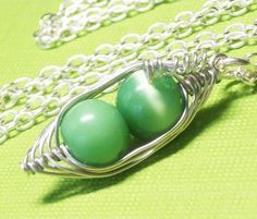Two Peas In A Pod Silver Necklace 2 3 Or 4 Peas by Kikiburrabeads, $18.50