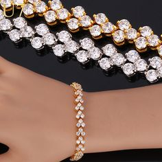 Romantic Cubic Zirconia Bracelet Women Jewelry Trendy Gold Plated 17cm20cm Chain Tennis Bracelets 6 //Price: $19.95 & FREE Shipping // #beautiful #girl #girls #design #model #styles #outfit #purse #jewelry