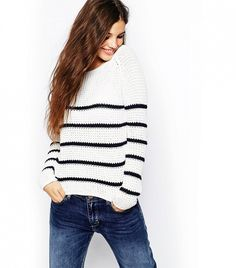 Only Breton Stripe Knitted Sweater in White