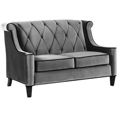 Barrister Loveseat Gray Velvet (3,620 CNY) ❤ liked on Polyvore featuring home, furniture, sofas, couch, decor, home decor, anchor gray, gray velvet sofa, gray tufted sofa and grey tufted couch