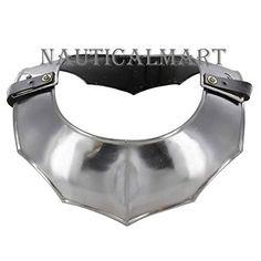 Black Plate Gorget Medieval Neck /& Throat Armor Steel Templar Knights Crusader