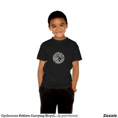 Cyclocross Athlete Carrying Bicycle Circle Retro Tee Shirt. Kids t-shirt designed with an illustration of a cyclocross athlete running while carrying a bicycle on his shoulder viewed from the side set inside a circle on isolated background done in retro style. #cyclocross  #olympics #sports #summergames #rio2016 #olympics2016