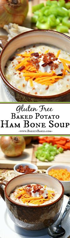Use up that delicious leftover ham bone and create this comforting, soup for the soul Gluten Free Baked Potato Ham Bone Soup. Dinner doesn't get much cozier.