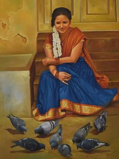 Lady with Pigeons  by Kamal Rao