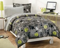 Comforter and sham has skateboarding and skulls theme in yellow-green, black, white and gray. Comforter reverses to black, white and yellow-green plaid. Comforter and Sham is 60% Cotton 40% Polyester. Sheet Set is 60% Cotton 40% Polyester, 180 thread count, with a gray and white geometric pattern. CONTENTS: One twin size comforter 66 x 86 in. (167 cm x 218 cm).; One twin flat bed sheet, finished size 66 x 96 inches (168 x 244 cm).; One twin fitted sheet. Both of the above sheets fit a…