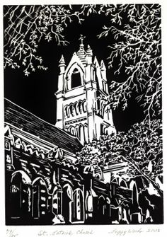 Linocut of St. Patrick Church in Galveston, created by Peggy Woods of Houston, TX. Art Alevel, Gcse Art Sketchbook, Daisy Art, Catholic Religion, Church Architecture, Chiaroscuro, Indian Paintings, Free Travel, Linocut Prints