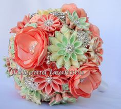 Fabric Wedding Bouquet brooch bouquet Peach and mint от LIKKO, $75.00