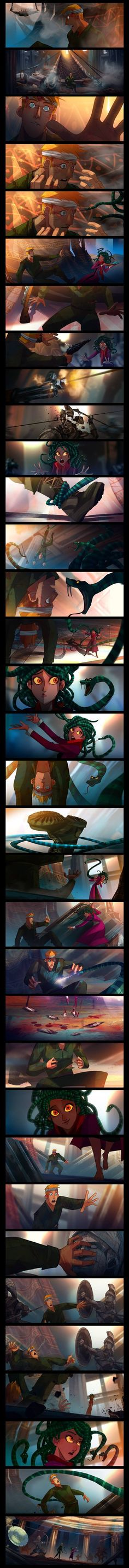 Medusa (Part 2) by JUN CHIU Illustration<<<He can't be turned to stone and in this Medusa is actually adorable