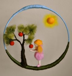 Waldorf inspired needle felted doll mobile: Girl in pink with apple tree. via Etsy. Waldorf Crafts, Waldorf Toys, Wet Felting, Needle Felting, Diy Laine, Felt Mobile, Felt Fairy, Felting Tutorials, Felt Toys
