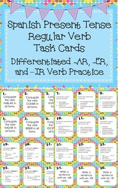 Various questions or tasks to practice conjugating regular present tense verbs. Tasks become more difficult as the cards progress.