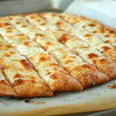 The perfect pizza dough for homemade garlic sticks.