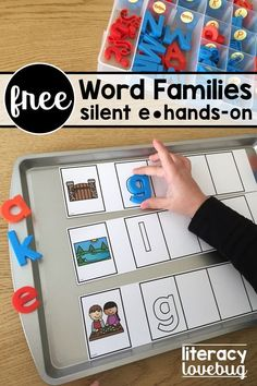 Free, silent e activities to use with your kindergarten and first grade students. Use this fun, CVCe freebie with your small guided reading groups, in a literacy center or for struggling students. Vowel Activities, Word Family Activities, Spelling Activities, Spelling Rules, Alphabet Activities, Literacy Activities, Teaching Resources, Teaching Ideas, Kindergarten Language Arts