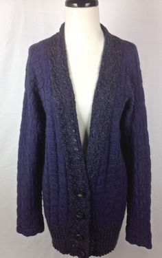 Free People Women's Sweater Blue Wool Long Sleeve M #FreePeople #Cardigan