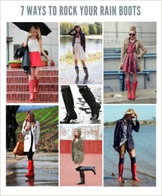 Don't let rain ruin your outfits. How to rock rain boots! #Fashion #Style #Fall #Winter #Rain #Snow #Casual #DIY #HowTo #Tips #Dresses #Umbrella #Skirts #Socks #RainBoots #Coats #Chic