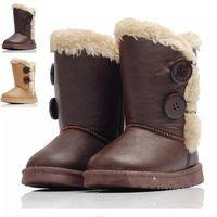 65d1e3e85 2.014 niños Botas de Invierno Niños Niñas calientes botones de cuero de  lujo para niños Botas