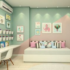 The Secret to Cute Bedroom Ideas Change the Color No matter what kind of look you're trying for, paint is only one of the absolute most budget-friendl. Girl Bedroom Walls, Girl Bedroom Designs, Bedroom Paint Colors, Pastel Bedroom, Kid Bedrooms, Bedroom Decor, House Paint Exterior, Exterior House Colors, Stucco Exterior