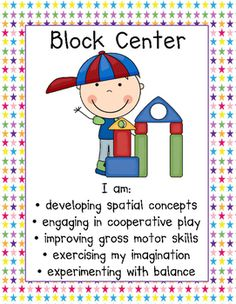 "Center signs for 51 centers with ""I am"" statements to show what students are learning as they play! Preschool Center Signs, Classroom Center Signs, Block Center Preschool, Preschool Centers, Learning Stories, Play Based Learning, Learning Through Play, Learning Centers, Toddler Classroom"