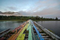 Abandoned painted bridge on Vancouver Island, BC