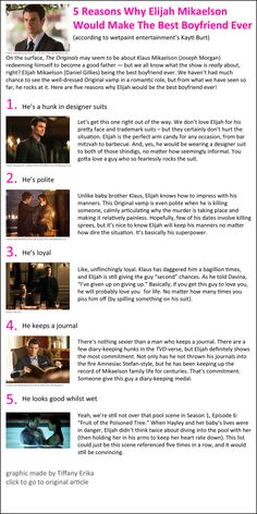 5 Reasons Why Elijah Mikaelson Would Make The Best Boyfriend Ever.  http://www.wetpaint.com/the-originals/articles/2013-11-20-5-reasons-why-elijah-mikaelson-best-boyfriend-ever   ♥ #TheOriginals ♥ #TVD ♥ #DanielGillies ♥
