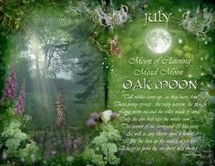 Book of Shadows Moon: July : Oak Moon by Angie Latham. It makes a lovely Moon page for a Book of Shadows. Moon Magic, Sabbats, Summer Solstice, Book Of Shadows, Moon Child, Months In A Year, Full Moon, Moon Moon, Moon Art