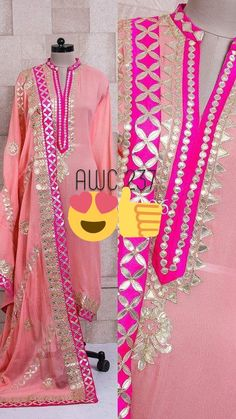 """#Rreflection Collection Fabric:AWC 237 New Design Fabric - Pure Georget Shirt with Pure shantoon salwar and Pure Georget dupata. Work- New Design with Gota work with contrasting piping design. Dupata - AWC 237 Has Pure Georget Dupata top Quality with Heavy Gota designer work all over size -48"""" length-50"""" For more details whatsapp on +91-9212462240 Code-BAEZ #WomenFashion #WomenWear #Ladies #LatestStock #NewTrend #Fashion #AWCSuits #PartySuits #GottaPattiSuits #HeavySuits Kurta Designs, Salwar Suit Neck Designs, Kurta Neck Design, Neck Designs For Suits, Dress Neck Designs, Kurti Designs Party Wear, Blouse Designs, Designer Salwar Kameez, Patiala Salwar"""