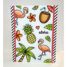 Sunny Studio Tropical Paradise 4x6 Photo-polymer Clear Stamps - Sunny Studio Stamps