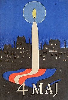 Liberation poster from 1945 showing candlelights in the windows-After having been occupied by Germany since 9 April 1940, Denmark became free again on 5 May 1945. When the liberation was announced in the 8.30pm BBC broadcast on 4 May 1945, many Danes spontaneously placed lit candles in their windows. This became a custom that is still kept up by many Danes.