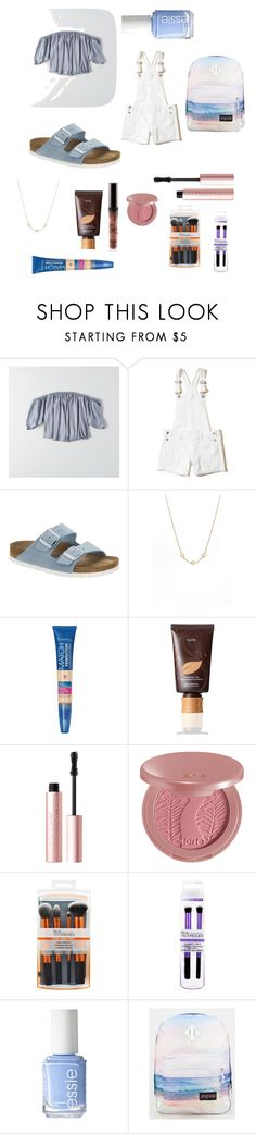 """""""First Day of School"""" by sidneymay7 on Polyvore featuring American Eagle Outfitters, Hollister Co., Birkenstock, AND, Rimmel, tarte, Too Faced Cosmetics, Essie and JanSport"""