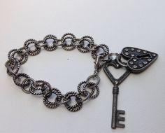 Heart lock and key charm bracelet