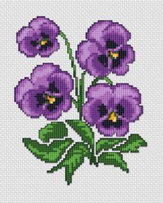 Violetas en punto de cruz   Punto de cruz - Colección de patrones punto de cruz gratis.