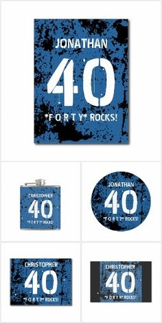 BIRTHDAY GRUNGE Blue For Him 40th or ANY Year