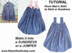 FF20 sewing pattern  RECYCLE A Man's Shirt into a skirt, sundress or jumper (children's size) sewing machine optional. $6.00, via Etsy.