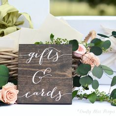 Gifts and Cards Sign, Wedding Gift Table Sign, Gifts Sign, Wooden Wedding Signs  -measures approximately 6 x 7 -dark walnut wood with white