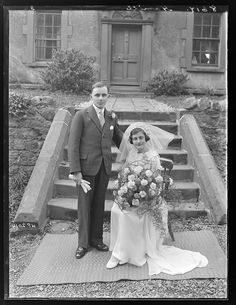 On this day: a Wedding in Northern Ireland | In Times Gone By... Wedding Car, Wedding Bride, Wedding Dresses, Vintage Weddings, Northern Ireland, Vintage Images, Wedding Portraits, Newlyweds, Wedding Styles