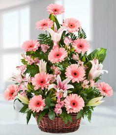 Basket arrangement of lilies and gerberas Rosen Arrangements, Basket Flower Arrangements, Altar Flowers, Beautiful Flower Arrangements, Silk Flowers, Floral Arrangements, Beautiful Flowers, Ikebana, Deco Floral