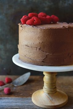 Chocolate Mousse Cake with Raspberries Bakealong via @kingarthurflour Valentine's baking!