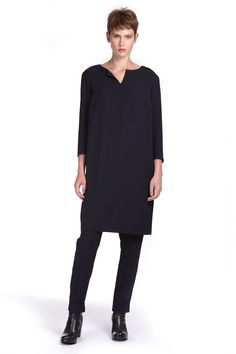 Dress Denver in a supple Japanese crepe with oversized boxy fit, slit pockets in side seams and a boat neck with subtle slit.