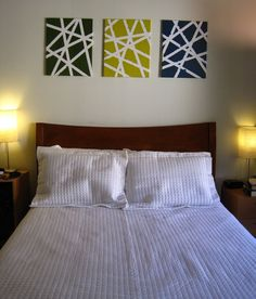 DiY: Tape Paintings. I like the idea of using them as headboard art. I haven't been able to find anything affordable in the colors of our bedroom.