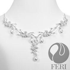 "Floral Vine Necklace 925 fine sterling silver, AAA white cubic zirconia, 16"" (l) + 4"" extender #FERI luxury"