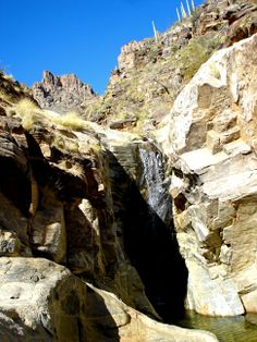 Did some body rafting with a friend at these falls at Seven Falls, Sabino Canyon trail, Tucson, AZ