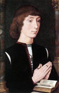 Hans Memling (1430-1494) — Young Man at Prayer c. 1475  : The National Gallery, London. UK  (800×1248)