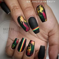30 Best Spring Nail Art Designs 2019 - Light up your look this spring with dynamic pink nails like these. Not exclusively are the nails painted in jazzy pink, yet they additionally have a f. Best Acrylic Nails, Summer Acrylic Nails, Acrylic Nail Designs, Nail Art Designs, Hot Nails, Swag Nails, Bling Nails, Jamaica Nails, Rasta Nails
