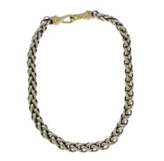 ▌Auth DAVID YURMAN 925 Sterling Silver & 14K Wheat Chain Necklace Size…