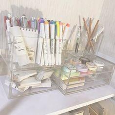 Desk organization korean 65 Ideas - Image 7 of 23 Study Room Decor, Bedroom Decor, Study Rooms, My New Room, My Room, Study Corner, Desk Inspiration, Desk Inspo, Stationary School