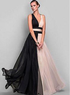 Elegant V-neck Neckline Floor-length  A-line Prom Dress