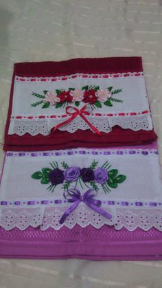 Sewing Machine Embroidery, Hand Embroidery Videos, Embroidery Bags, Crewel Embroidery, Embroidery Patterns, Applique Towels, Felt Applique, Ribbon Embroidery Tutorial, Silk Ribbon Embroidery