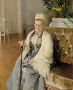 Portrait of Mrs. Anna Sinebrychoff 1892 (Wife of the commercial counsellorin in Sinebrychoff Salon) - oil on canvas - Albert Edelfelt - Kauppaneuvoksetar Anna Sinebrychoffin muotokuva 1892 (Sinebrychoffin Salongi) - öljy kankaalle - Ateneumin taidemuseo Helene Schjerfbeck, Chur, Prinz Eugen, Historical Pictures, Oil On Canvas, Scandinavian, Illustration Art, Illustrations, Art Photography